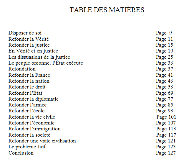 table matieres refonder la france